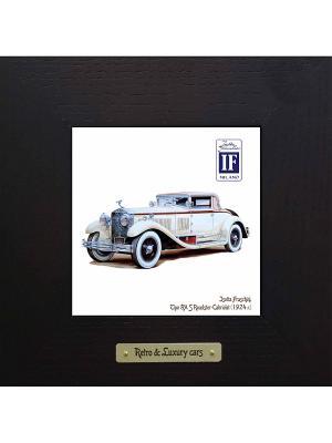 Картина-сувенир Isotta Fraschini, Tipo 8A S Roadster-Cabriolet (1924 г.) Ceramic Picture. Цвет: черный, темно-зеленый, антрацитовый