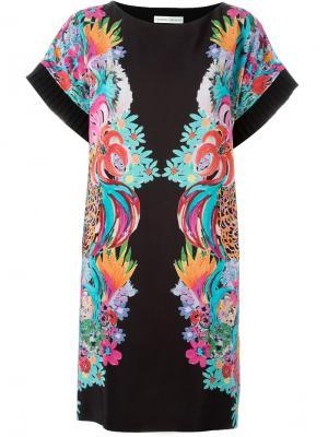 Платье шифт с цветочным принтом Tsumori Chisato. Цвет: чёрный