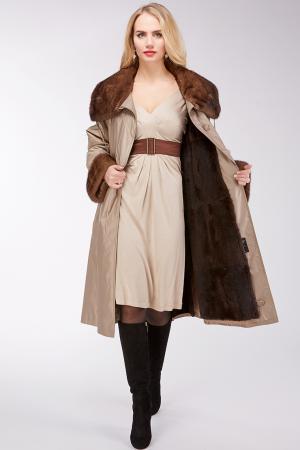 Теплое пальто на меху кролика с отделкой из норки Sprung Freres. Цвет: бежевый
