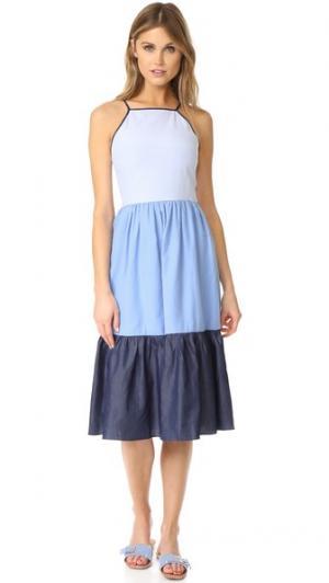 Макси-платье без рукавов с расклешенной юбкой ENGLISH FACTORY. Цвет: розовый и серый