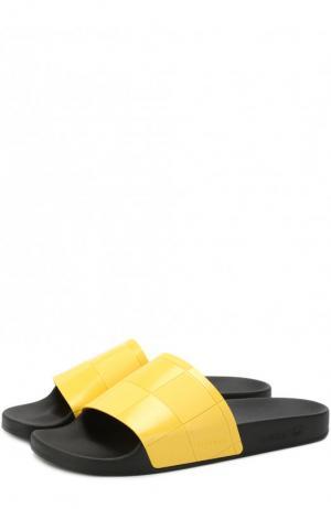 Однотонные шлепанцы Adidas by Raf Simons. Цвет: желтый