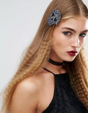 Orelia Заколка для волос с блестками Halloween. Цвет: черный
