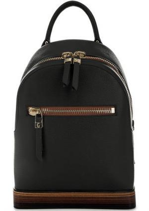 Черный кожаный рюкзак на молнии Gironacci. Цвет: черный