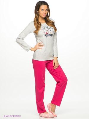 Комплект одежды Vienetta Secret. Цвет: фуксия, серый меланж
