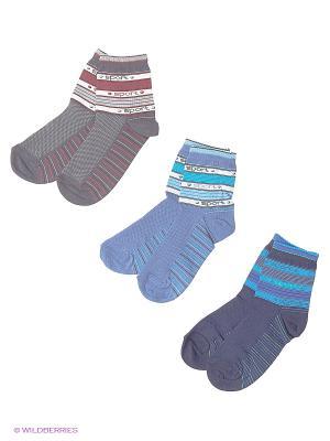 Носки, 3 пары Гамма. Цвет: синий, серый