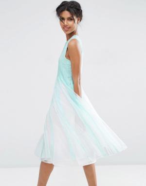 ASOS Платье миди со свободной сетчатой юбкой. Цвет: синий