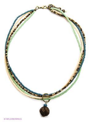 Ожерелье PS by Polina Selezneva. Цвет: коричневый, бежевый, голубой, зеленый