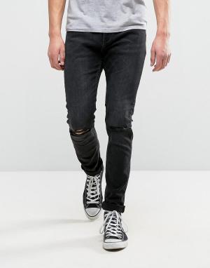 Rollas Черные джинсы слим Thin Captain. Цвет: черный