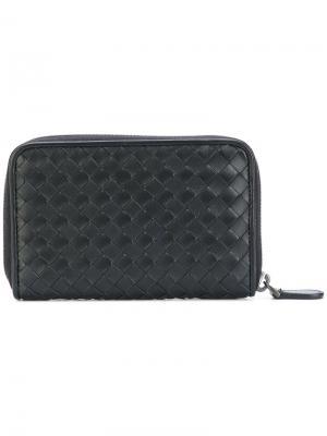 Плетеный кошелек с круговой молнией Bottega Veneta. Цвет: чёрный