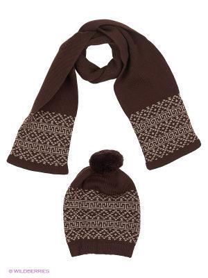 Комплект детский (шапка, шарф) R&I. Цвет: коричневый