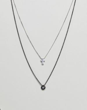 Icon Brand 2 ожерелья с подвесками (серебристый/цвет пушечной бронзы). Цвет: серебряный