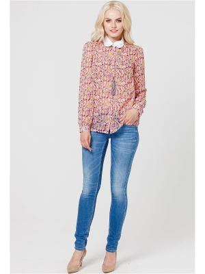 Блузка MARY MEA. Цвет: бледно-розовый, белый