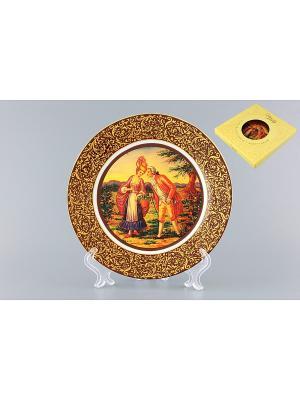 Тарелка декоративная Прогулка по лесной опушке Elan Gallery. Цвет: желтый, синий, коричневый, красный
