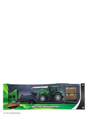 Фермерский грузовой автомобиль с трактором Зеленый HTI. Цвет: зеленый