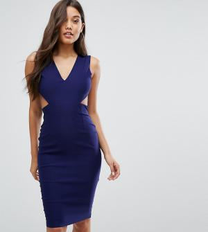 Vesper Платье миди с вырезами и открытой спиной. Цвет: темно-синий