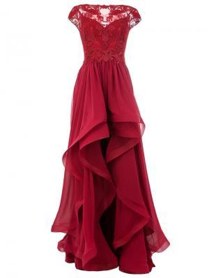 Платье с кружевом Zuhair Murad. Цвет: красный