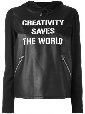Толстовка из искусственной кожи Creativity Saves  World Twin-Set. Цвет: чёрный