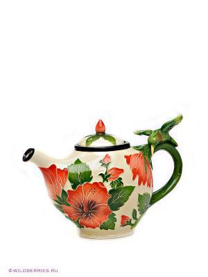 Заварочный чайник Гибискус Blue Sky. Цвет: молочный, красный, зеленый