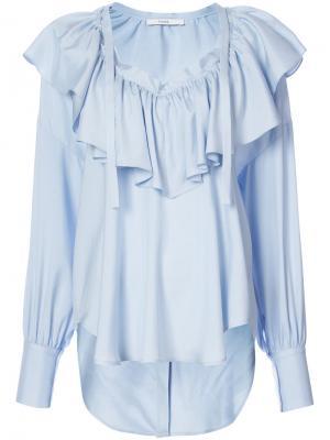 Блузка с оборкой и V-образным вырезом Tome. Цвет: синий
