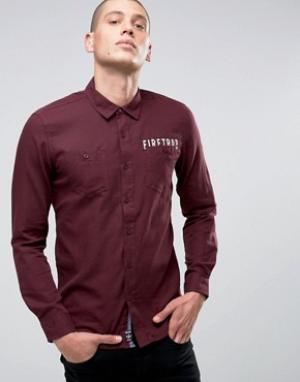 Firetrap Фланелевая рубашка с начесом. Цвет: красный