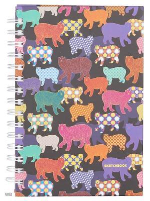 Скетчбук с твердой обложкой А5, 100листов.Разноцветные медведи (графика) Канц-Эксмо. Цвет: зеленый, фиолетовый, розовый