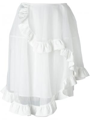 Асимметричная юбка из тюля Simone Rocha. Цвет: белый