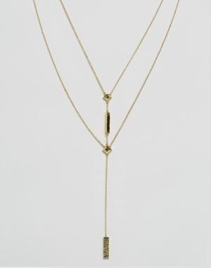 House of Harlow Двойное ожерелье с подвеской. Цвет: золотой