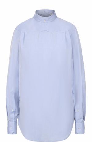 Хлопковая блуза с воротником-стойкой Thom Browne. Цвет: голубой