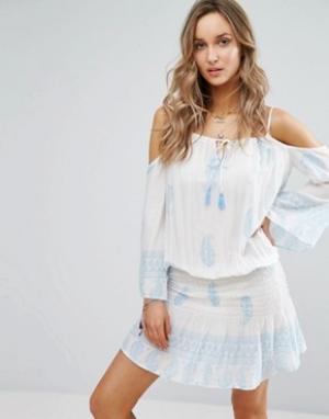 Surf Gypsy Пляжное платье с открытыми плечами и принтом. Цвет: мульти