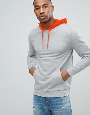 ASOS Худи серого меланжевого цвета с оранжевым капюшоном. Цвет: серый