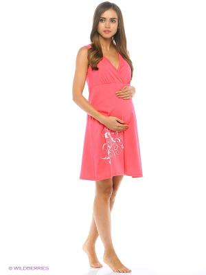 Ночная сорочка для беременных и кормящих Hunny Mammy. Цвет: красный