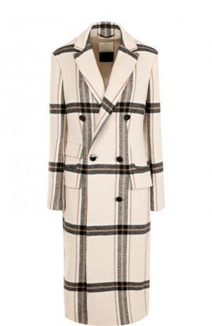 Приталенное двубортное пальто в клетку By Malene Birger. Цвет: бежевый