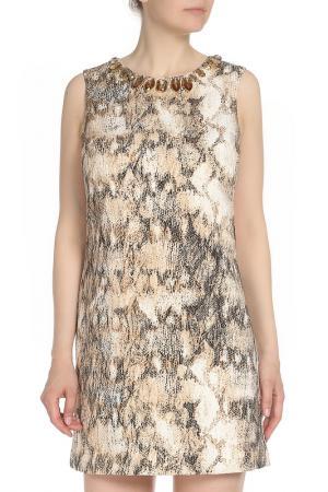 Платье, вырез украшен камнями Mon Cheri. Цвет: кремовый, черный