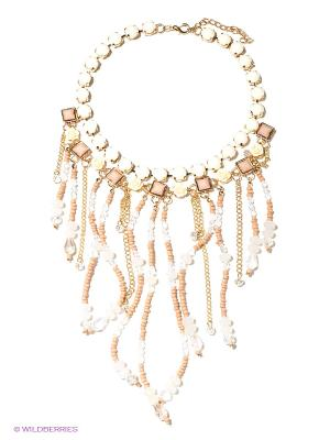 Ожерелье Модные истории. Цвет: молочный, бежевый, золотистый