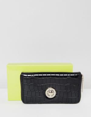 Versace Кошелек с тиснением под крокодиловую кожу и золотистой пуговицей Versa. Цвет: черный