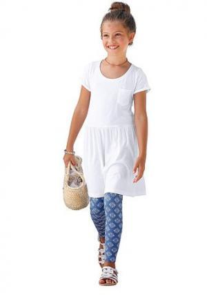 Набор из 2-х предметов: платье и леггинсы Arizona. Цвет: белый с принтом