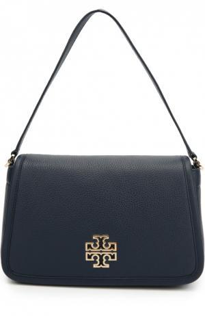 Кожаная сумка Britten с клапаном Tory Burch. Цвет: синий