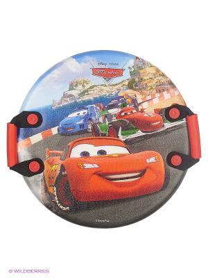 Ледянка Disney Тачки  круглая, с плотными ручками , 54 см. Цвет: красный, коралловый, оранжевый