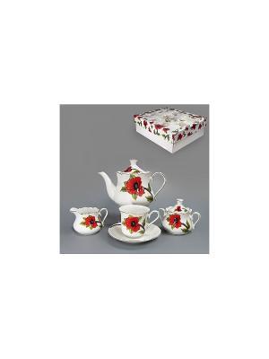 Набор чайный 15 пр. КРАСНЫЙ МАК 1000мл/200мл BRISWILD. Цвет: белый