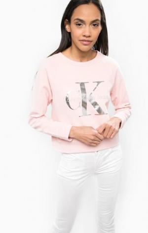 Укороченный свитшот из хлопка Calvin Klein Jeans. Цвет: розовый
