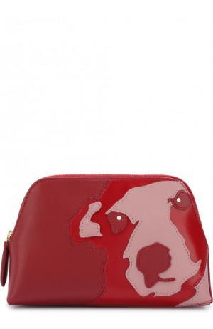 Кожаная косметичка с аппликацией на молнии Diane Von Furstenberg. Цвет: красный