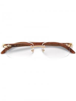 Очки Decor C Cartier. Цвет: коричневый