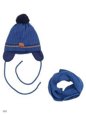 Шапка и шарф Agbo. Цвет: синий, рыжий