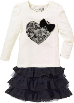 Футболка и юбка с кружевной отделкой (2 изд.) (кремовый/черный) bonprix. Цвет: кремовый/черный