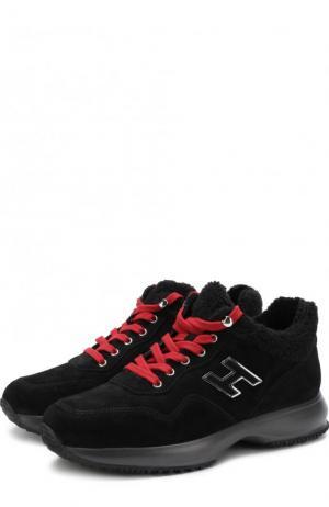 Утепленные замшевые кроссовки с контрастной шнуровкой Hogan. Цвет: черный