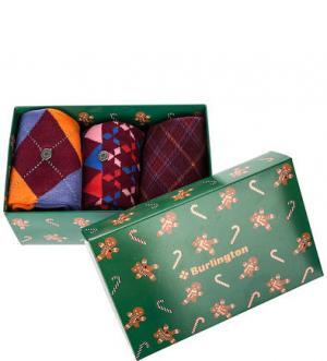 Подарочный комплект из трех пар хлопковых носков Burlington. Цвет: мультиколор