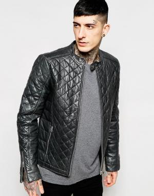 Goosecraft Кожаная байкерская куртка cо стеганой отделкой. Цвет: антрацит