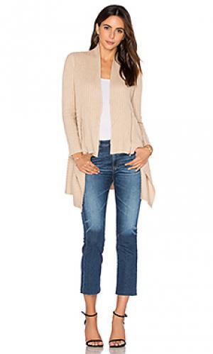 Кардиган в рубчик с драпировкой на молнии Autumn Cashmere. Цвет: цвет загара