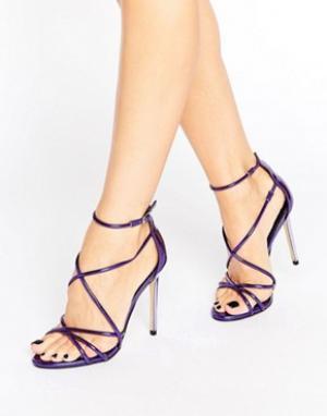 Office Фиолетовые босоножки на каблуке с ремешками Spindle. Цвет: фиолетовый