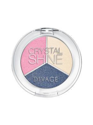 Тени для век 3-х цветные CRYSTAL SHINE тон 02 DIVAGE. Цвет: синий, бежевый, розовый